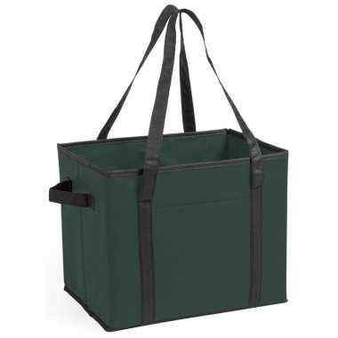 2x stuks auto kofferbak/kasten organizer tassen groen vouwbaar 34 x 2