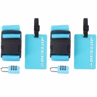 2x stuks blauwe koffer/bagage accessoiressets 3-delig