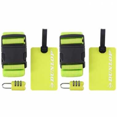 2x stuks groene koffer/bagage accessoiressets 3-delig
