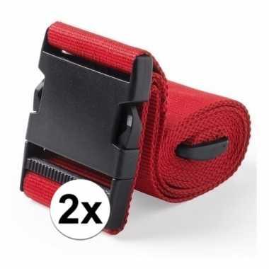 2x stuks kofferriemen rood 180 cm