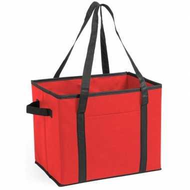 3x stuks auto kofferbak/kasten organizer tassen rood vouwbaar 34 x 28