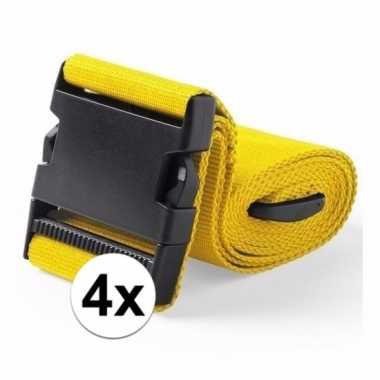 4x stuks kofferriemen geel 180 cm