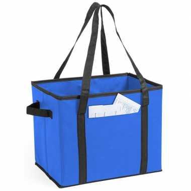 Auto kofferbak/kasten organizer tas blauw vouwbaar 34 x 28 x 25 cm