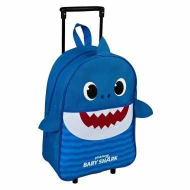 Baby shark daddy trolley reiskoffer blauw 40 cm voor kinderen