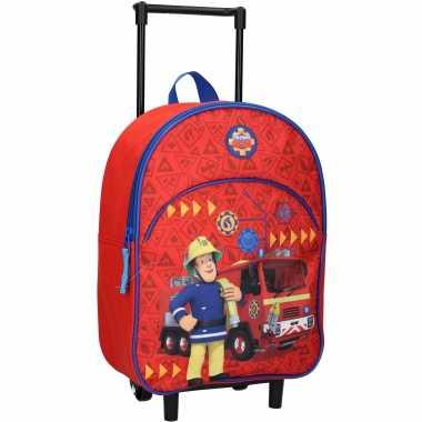 Brandweerman sam trolley/reiskoffer rugtas voor kinderen