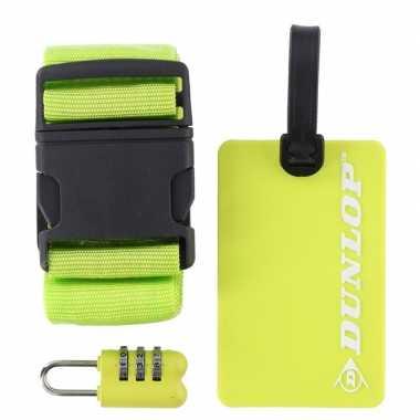 Groene koffer bagage accessoiresset 3 delig