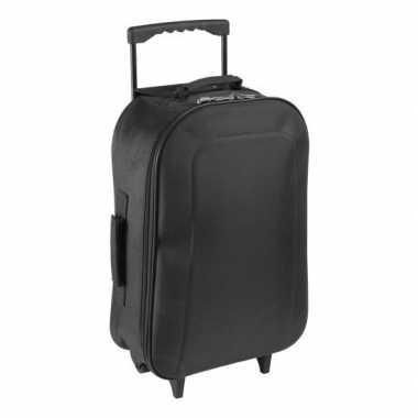 Handbagage reiskoffer/trolley zwart 46 cm