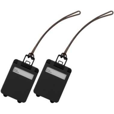 Pakket van 2x stuks kofferlabels zwart 9,5 cm