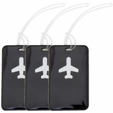 Pakket van 3x stuks kofferlabels zwart 11,5 cm