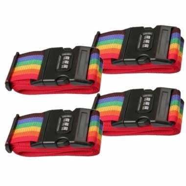 Pakket van 4x stuks kofferriemen / bagageriemen met cijferslot 200 cm regenboog kleuren