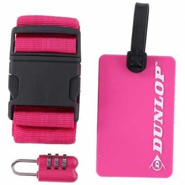 Roze koffer/bagage accessoiresset 3-delig