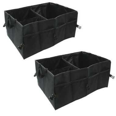 Set van 2x stuks auto kofferbak organizers tas zwart opvouwbaar 52 x 38 x 26 cm