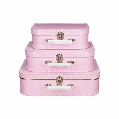 Speelgoed koffertje roze met stippen wit 35 cm