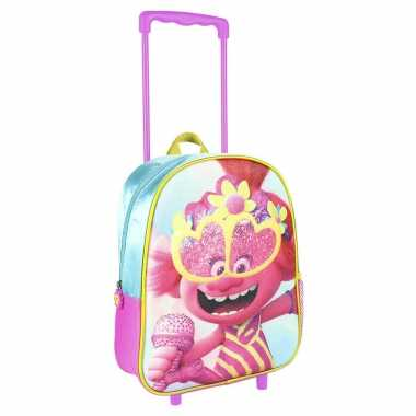 Trolls poppy trolley/reiskoffer rugtas voor kinderen