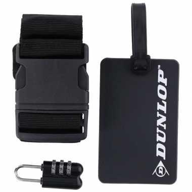 Zwarte koffer bagage accessoiresset 3 delig