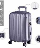 Cabine trolley koffer met zwenkwielen 33 liter zilver 10296514