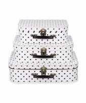Koffertje wit met zwarte stippen 35 cm
